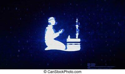 prière, erreur, ramadan, numérique, religion, pixel, bruit, symbole, animation., prier, islamique