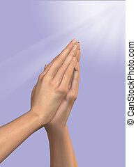 prière, mains
