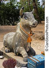 prière, offres, à, phnom, bakheng, cambodge