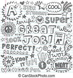priase, encorajamento, palavras, doodles