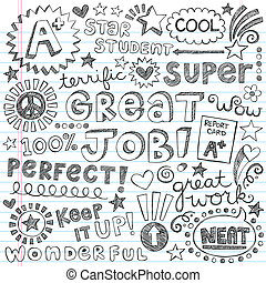 Priase Encouragement Words Doodles - Great Job Super Student...
