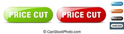 price cut button. key. sign. push button set