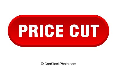 price cut button. rounded sign on white background