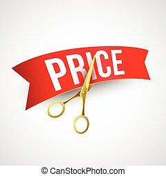 Price cut Gold scissors. Vector illustration