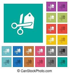 Price cut square flat multi colored icons