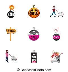 Price down icons set, cartoon style