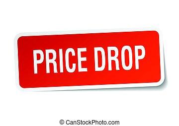 price drop square sticker on white