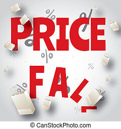 Price fall sale white red design template