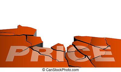 PRICE inscription collapses from earthquake. Product discounts, sales, black friday. Cracks in ground. Breaking surface from strong impact. Vector