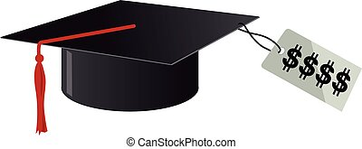 Price of education - University graduation cap with a high...