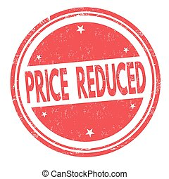 Price reduced sign or stamp