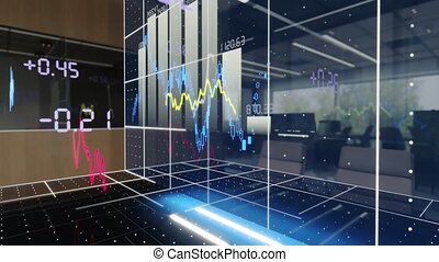 Price rise analytics chart. Stock market races graphic projection, office space. Close-up. High quality 4k footage