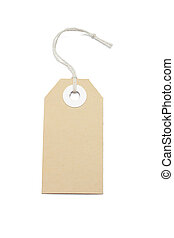 Price tag - Brown card price tag on white background