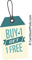 Price Tag Buy 1 Get 1 Free Vector Image