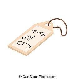 Price tag icon, cartoon style