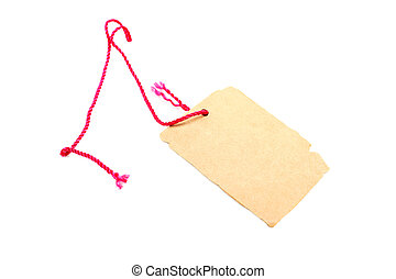 Price tag made of brown cardboard with red rope isolated on white background.