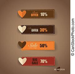 Price tag, ribbon, sale coupon, voucher. Vintage Style...