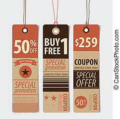 Price tag, sale coupon, voucher. Vintage Style template Design v