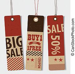 Price tag, sale coupon, voucher. Vintage Style template Design v