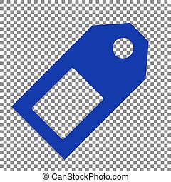 Price tag sign. Blue icon on transparent background.