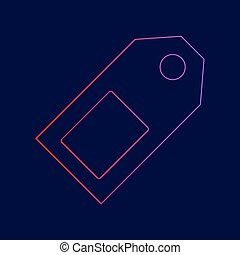 Price tag sign. Vector. Line icon with gradient from red to violet colors on dark blue background.