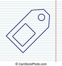 Price tag sign. Vector. Navy line icon on notebook paper as background with red line for field.