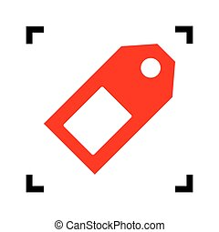 Price tag sign. Vector. Red icon inside black focus corners on white background. Isolated.