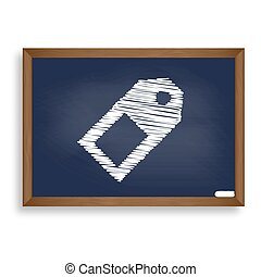 Price tag sign. White chalk icon on blue school board with shado