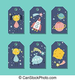 Price Tag with Space Cartoons vectors Set