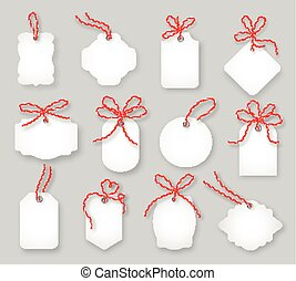 Price tags and gift cards tied up with twine bows vector set