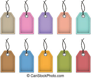 Blank colorful price tags made of leather. Labels for shopping. Vector illustration