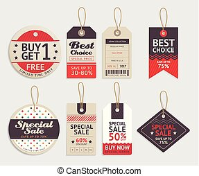 Price tags label design set. Vector illustration.
