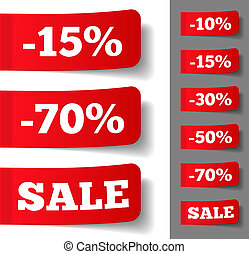 Price Tags - Red stickers with discounts, vector eps10...