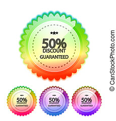 Price tags - Vector rainbow price tag glass design