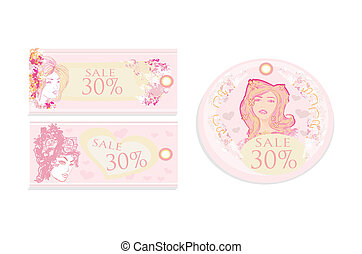 Price Tags With Fashion Girls set