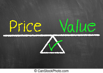 Price value balance drawing and text on chalkboard or blackboard