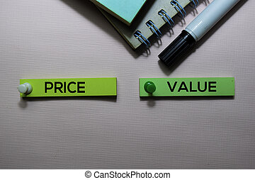 Price Vs Value text on sticky notes isolated on office desk