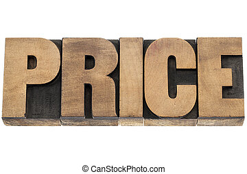 price word in wood type
