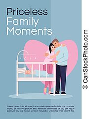 Priceless family moments poster template. Happy parenthood, childbirth commercial flyer design with semi flat illustration. Family idyll vector cartoon promo card. Advertising invitation