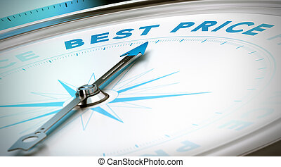 Compass with needle pointing the word best price. Conceptual 3D render image with depth of field blur effect for illustration of prices comparison.