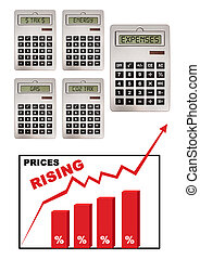 Chart illustrating global economic crisis with prices inflation