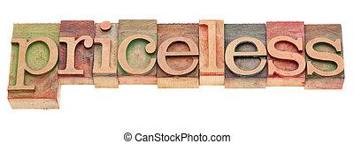 pricesless, palavra, em, letterpress, tipo