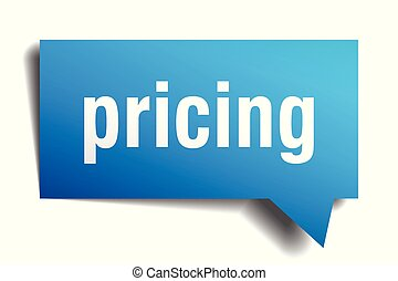 pricing blue 3d speech bubble