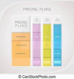 Pricing comparison table set for commercial business web services and applications.