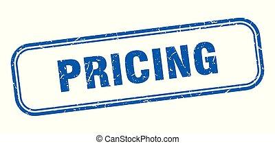 pricing stamp. pricing square grunge sign. pricing