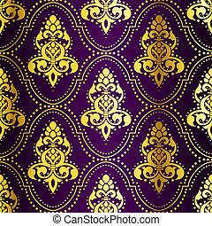 pricken, guld, purpur, mönster, seamless, indisk