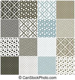 pricken, polka, seamless, fyrkanteer, sparre, patterns:, geometrisk