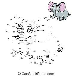 pricken, rita, bilda, lek, koppla samman, djur