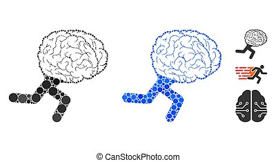 pricken, runda, ikon, hjärna, spring, komposition
