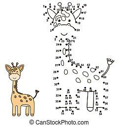 pricken, söt, rita, färg, den, giraff, koppla samman